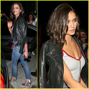 Nina Dobrev Rocks 'Baby Girl' Tank Top & Silver Cutout Pumps for Dinner