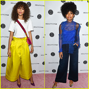 Zendaya & Yara Shahidi Meet Up at Day 1 of Beautycon Los Angeles