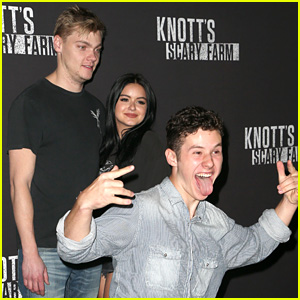 Ariel Winter & Levi Meaden Get Photobombed by Nolan Gould at Knott's Scary Farm