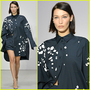 Bella Hadid is a Dark Blue Beauty in Oscar de la Renta Fashion Show