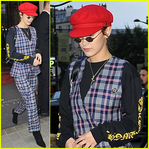 Bella Hadid Shows Off Her Love for Patterns While Leaving Paris