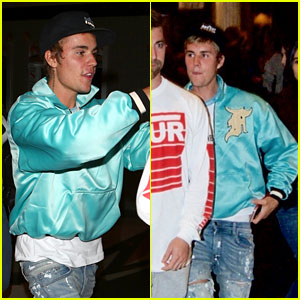 Justin Bieber Looks Cool in a Blue Bomber Jacket at Church!