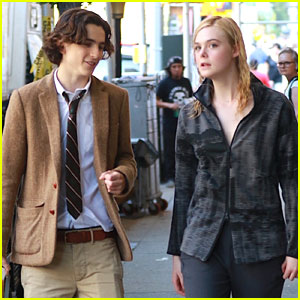 Elle Fanning & Timoth�e Chalamet Arrive On Set Together to Film New Woody Allen Project