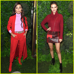 Eva Gutowski & Victoria Justice Pose in The Phone Booth at Alice + Olivia's NYFW Show