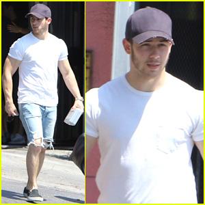 Nick Jonas Flaunts His Bulging Arm Muscles Post-Workout