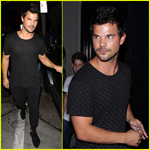 Taylor Lautner Flashes his Arm Muscles While Leaving Dinner