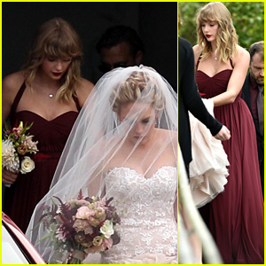 Taylor Swift Holds BFF Abigail Andersons Dress At Her Wedding Photos