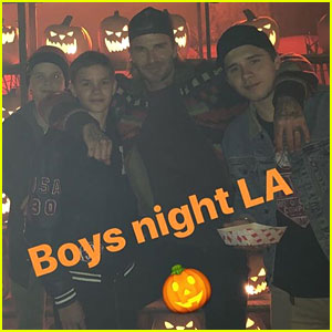Beckham Boys Enjoy Boys Night Out at Haunted Hayride with Dad David