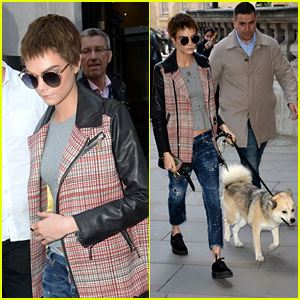 Cara Delevingne Heads Out Around Town With Her Cute Dog Leo!