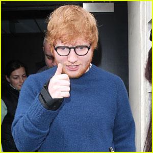 Ed Sheeran Gives Thumbs Up To Waiting Fans
