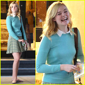 Elle Fanning is All Smiles on Set of Her New Movie in NYC