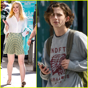 Elle Fanning Joins Timothee Chalamet on Set in NYC!