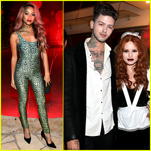 Riverdale's Madelaine Petsch & Vanessa Morgan Dress Up for Just Jared's Halloween Party!