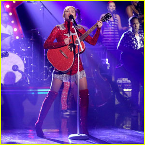 Miley Cyrus Performs These Boots Are Made For Walkin On