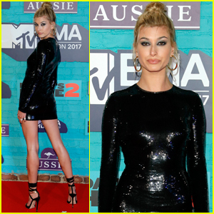 Hailey Baldwin Was All About Sequins at MTV EMAs 2017