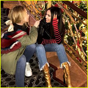 Sabrina Carpenter & Sofia Carson Catch Up In New York City