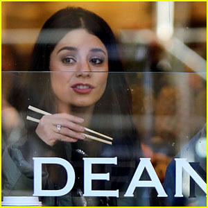 Vanessa Hudgens Gets Her Grub on While Filming 'Second Act'