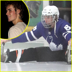 Justin Bieber Stretches Out on the Ice for His Hockey Game
