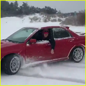 Ansel Elgort Shows Off His 'Baby Driver' Skills in the Snow - Watch!