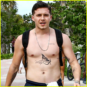 Brooklyn Beckham Hits the Beach in Miami, Shirtless!