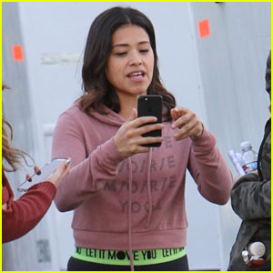 Gina Rodriguez Keeps It Casual on 'Law & Order: SVU' Set