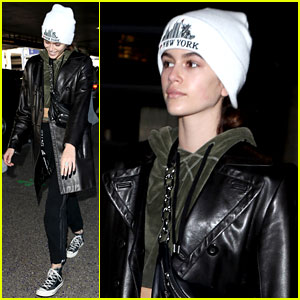 Kaia Gerber Touches Down at LAX Following Paris Fashion Shows