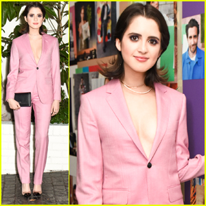 Laura Marano Shines In Striking Pink Suit at Pre-Golden Globes Party