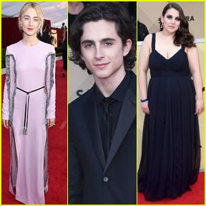 Saoirse Ronan, Timothee Chalamet, & Beanie Feldstein Bring 'Lady Bird' to SAG Awards 2018