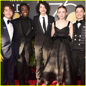49be58cff027b Sadie Sink, Gaten Matarazzo, & Finn Wolfhard Bring 'Stranger Things' to the  Golden Globes 2018