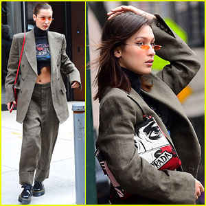 Bella Hadid Rocks Men's Suit Ahead of Jason Wu Fashion Show