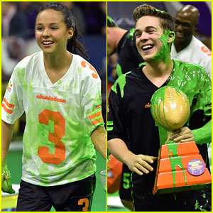 Breanna Yde & Ricardo Hurtado Get Covered In Slime at Nickelodeon's Super Bowl Experience