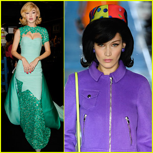 Gigi & Bella Hadid Head Back to the 1960s in Moschino Fashion Show!