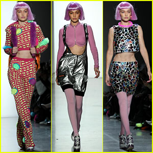 Gigi Hadid Dons Three Colorful Looks at Jeremy Scott's Fashion Show!