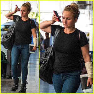 Hayden Panettiere Sports Bandage on Arm During Family Vacation