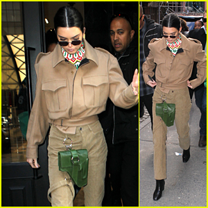 Kendall Jenner Rocks a Beige Suit & Green Holster While on a NYC Shopping Spree!