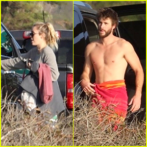 Miley Cyrus & Liam Hemsworth Have a Beach Day Together!