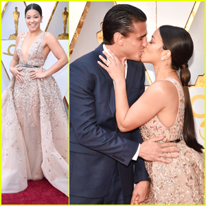 Gina Rodriguez & Boyfriend Joe LoCicero Share a Cute Kiss on Oscars 2018 Red Carpet