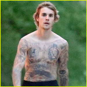 Justin Bieber Shows Off His Tattoos During a Sunday Stroll