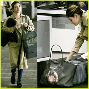 Lucy Hale Carries Rottweiler Bag While Traveling Home for Easter