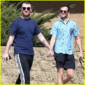Sam Smith & Brandon Flynn Hold Hands While Walking Their Dog in LA!