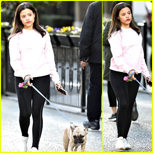 Sarah Jeffery Walks Adorable Pup Monty Ahead of 'Charmed' Filming