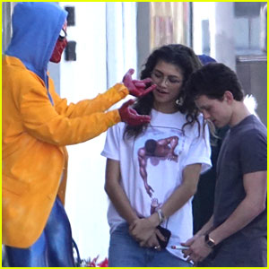 Zendaya & Tom Holland Run Into Spider-Man at Comic Book Store!