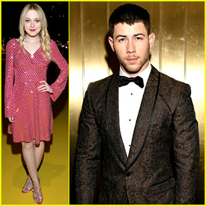 Nick Jonas & Dakota Fanning Step Out for Separate D&G Shows!