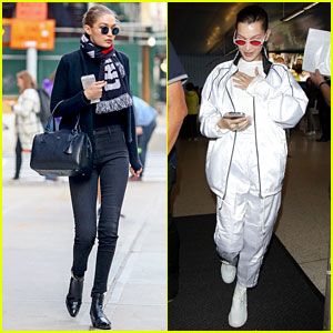 Gigi Hadid Looks Sleek in All Black While Bella Hadid Keeps It Chic in White