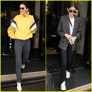 Kendall Jenner Leaves Paris Hotel with Kaia Gerber
