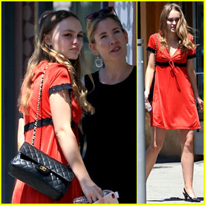 Lily-Rose Depp Keeps It Comfy & Cute in Bright Red Dress