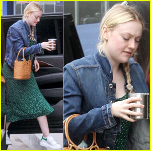 Dakota Fanning Dons Denim Jacket With Green Polka-Dot Dress for Work Meeting