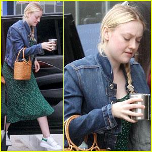 Dakota Fanning Dons Denim Jacket With Green Polka-Dot Dress for Work Meeting