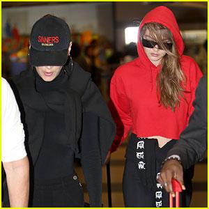 Gigi Hadid & Sister Bella Make a Low-Key Arrival at JFK Airport