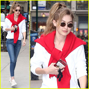 Gigi Hadid Steps Out In Red Ahead of Met Gala 2018